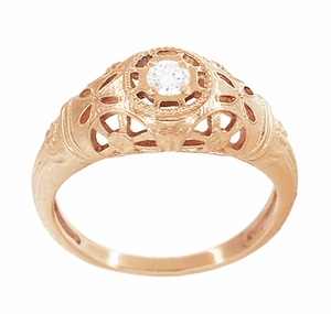 Art Deco Filigree White Sapphire Ring in 14 Karat Rose Gold - Item R428RWS - Image 2