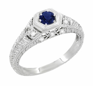 Art Deco Filigree Sapphire and Diamond Engagement Ring in 14 Karat White Gold | Carved Low Profile Ring - Item R646W14S - Image 1