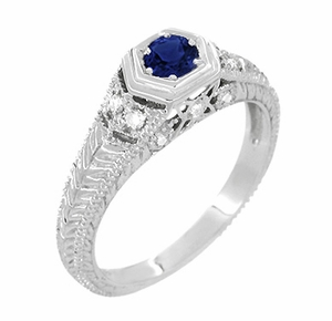 Art Deco Antique Inspired Filigree Sapphire and Diamond Engagement Ring in 14 Karat White Gold | Carved Low Profile Ring - Item R646W14S - Image 2