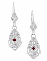 Art Deco Dangling Sterling Silver Ruby and Diamond Filigree Earrings