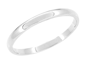 High Polish 2mm Wedding Band in 18 Karat White Gold & Palladium