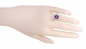 Edwardian Filigree Emerald Cut Amethyst Engagement Ring in 14 Karat White Gold - Item R618AM - Image 4