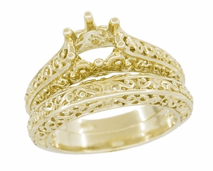Filigree Flowing  Scrolls Engagement Ring Setting for a 3/4 Carat Diamond in 14 Karat Yellow Gold - Item R1196Y - Image 5