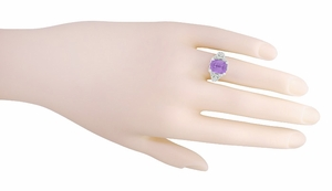 Edwardian Filigree Emerald Cut Amethyst Ring in Sterling Silver - Item SSR618AM - Image 4