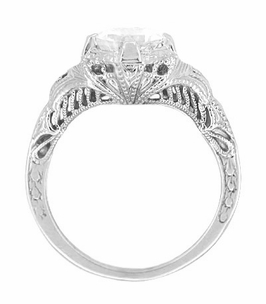 Art Deco White Sapphire Engraved Filigree Engagement Ring in 14 Karat White Gold - Item R161W75WS - Image 1