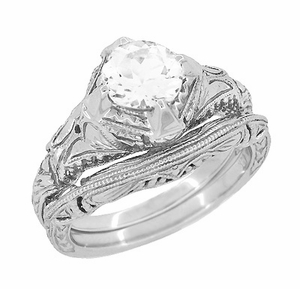 Art Deco White Sapphire Engraved Filigree Engagement Ring in 14 Karat White Gold - Click to enlarge