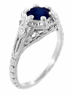 Art Deco Filigree Flowers Blue Sapphire Engagement Ring in Sterling Silver - Click to enlarge