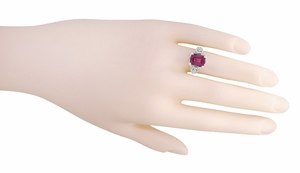 Filigree Emerald Cut Rhodolite Garnet Edwardian Engagement Ring in 14 Karat White Gold - Item R618G - Image 4