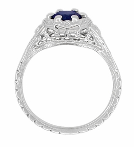 Art Deco Filigree Flowers Blue Sapphire Promise Ring in Sterling Silver - Item SSR706S - Image 2