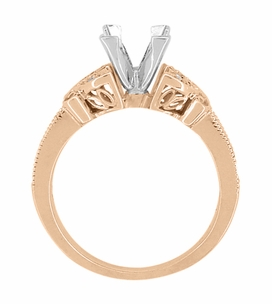 Art Deco Filigree Butterfly 3/4 Carat Princess Cut Diamond Engagement Ring Setting in 14 Karat Rose Gold - Click to enlarge
