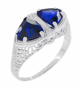 Art Deco Filigree Blue Sapphire Loving Duo Trillion Ring in Sterling Silver, 2 Stone Lab Created Sapphire Ring - Item R1123S - Image 1