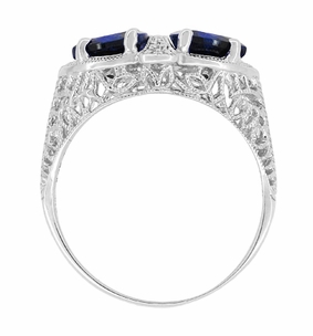Art Deco Filigree Blue Sapphire Loving Duo Trillion Ring in Sterling Silver, 2 Stone Lab Created Sapphire Ring - Item R1123S - Image 3