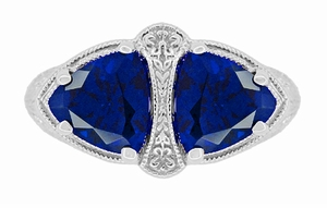 Art Deco Filigree Blue Sapphire Loving Duo Trillion Ring in Sterling Silver, 2 Stone Lab Created Sapphire Ring - Item R1123S - Image 4