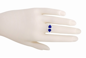 Art Deco Filigree Blue Sapphire Loving Duo Trillion Ring in Sterling Silver, 2 Stone Lab Created Sapphire Ring - Item R1123S - Image 5