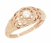 Art Deco Filigree Diamond Engagement Ring in 14 Karat Rose Gold
