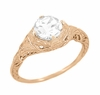 Art Deco White Sapphire Engraved Filigree Engagement Ring in 14 Karat Rose Gold