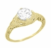Art Deco White Sapphire Engraved Filigree Engagement Ring in 14 Karat Yellow Gold