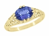 Edwardian Oval Tanzanite Filigree Ring in 14 Karat Yellow Gold
