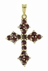 Victorian Bohemian Garnet Small Gothic Cross Pendant in Sterling Silver Vermeil