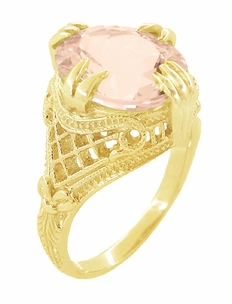 Morganite Oval Art Deco Filigree Ring in 14 Karat Yellow Gold - Click to enlarge
