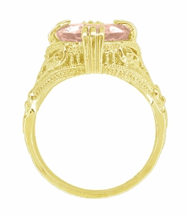 Morganite Oval Art Deco Filigree Ring in 14 Karat Yellow Gold - Item R157YM - Image 2