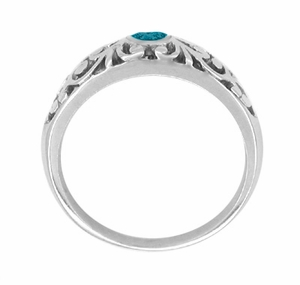 Art Deco Filigree Blue Diamond Ring in 14 Karat White Gold - Click to enlarge