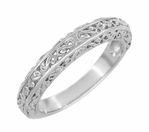 Filigree Flowing Scrolls Wedding Ring in 14 Karat White Gold - Item WR1196W - Image 1