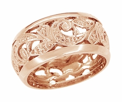 Retro Moderne Scrolls and Leaves Filigree Wedding Ring in 14 Karat Rose ( Pink ) Gold