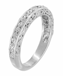 Filigree Flowing Scrolls Wedding Ring in 14 Karat White Gold - Item WR1196W - Image 2