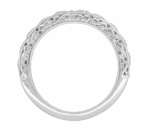 Filigree Flowing Scrolls Wedding Ring in 14 Karat White Gold - Item WR1196W - Image 3
