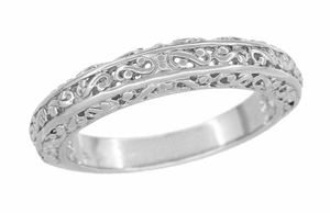 Filigree Flowing Scrolls Wedding Ring in 14 Karat White Gold - Item WR1196W - Image 4