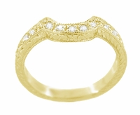 Art Deco Diamond Engraved Wheat Curved Wedding Band in 18 Karat Yellow Gold