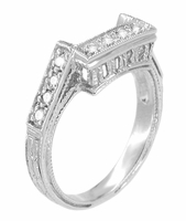Art Deco Diamond Filigree Royal Castle Wedding Ring - 18 Karat White Gold