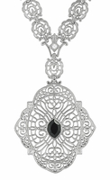 Edwardian Filigree Drop Pendant Necklace with Black Onyx and Diamond in Sterling Silver