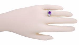 Edwardian Amethyst Filigree Ring in 14 Karat White Gold - Click to enlarge
