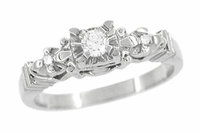 Retro Moderne Starburst Galaxy Engagement Ring in 14 Karat White Gold