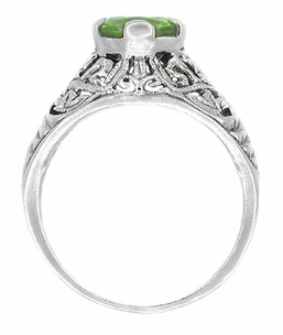 Edwardian Peridot Filigree Ring in 14 Karat White Gold - Item R712PER - Image 1