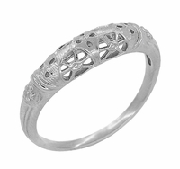 Art Deco Filigree Wedding Ring in Platinum