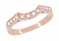 Art Deco Diamond Filigree Wedding Ring in 14 Karat Rose ( Pink ) Gold | Matching Engraved Pink Gold Curved Diamond Band