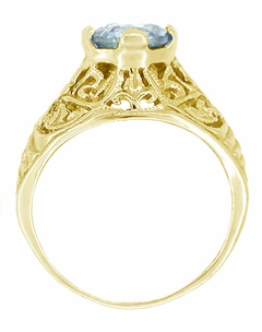 Edwardian Aquamarine Filigree Ring in 14 Karat Yellow Gold - Item R721Y - Image 1