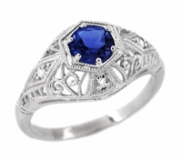 Blue Sapphire and Diamonds Scroll Dome Edwardian Filigree Engagement Ring in 14 Karat White Gold