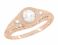 Art Deco Engraved Filigree White Sapphire Engagement Ring in 14 Karat Rose ( Pink ) Gold