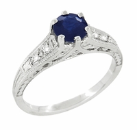 Art Deco Blue Sapphire and Diamonds Filigree Engagement Ring in 14 Karat White Gold