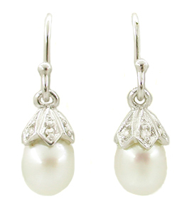 Art Deco Diamond Set Pearl Drop Earrings in 14 Karat White Gold