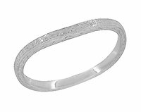 Art Deco Curved Engraved Wheat Wedding Ring in 14 Karat White Gold