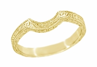 Art Deco Scrolls Engraved Contoured Wedding Band in 18 Karat Yellow Gold