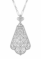 Scalloped Leaf Dangling Filigree Edwardian Pendant Necklace in Sterling Silver