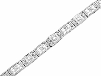 Art Deco Filigree Diamond Bracelet in 14 Karat White Gold