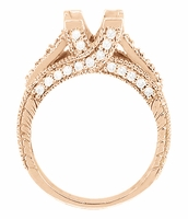X & O Kisses 1 Carat Princess Cut Diamond Engagement Ring Setting in 14 Karat Rose ( Pink ) Gold