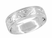 Men's Western Engraved 7mm Wide Art Deco Vintage Scrolls Double Millgrain Edge Wedding Band - 14K White Gold